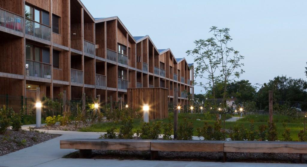 poutre en I immeuble de logements construction bois