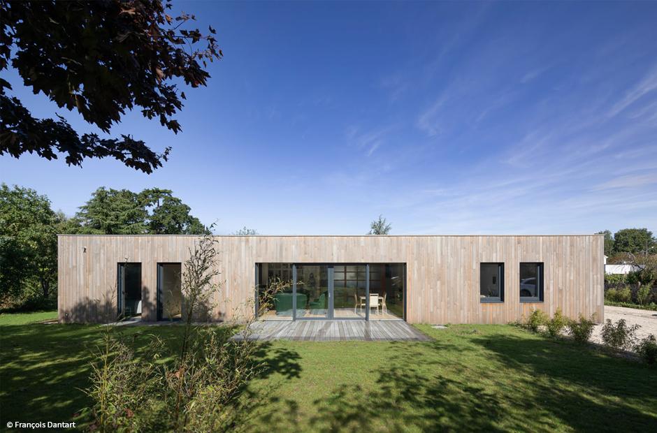 poutre en I maison passive en bois